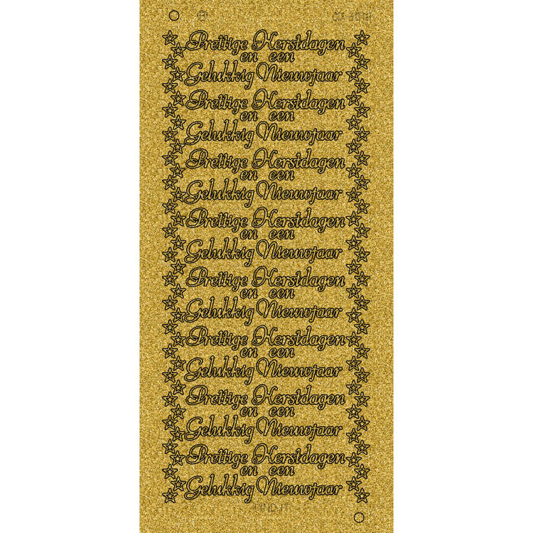Parel Sticker Glitter Goud Cd3016gg Prettige Kerstdagen En Een